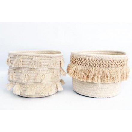 Cream Tassel Fabric Baskets