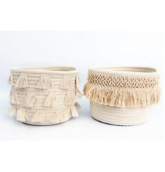 Decorated with their own tassel features, these stylish storage baskets are perfect for spare towels and trinkets in the