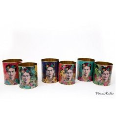 An assortment of colourful toned storage jars, each decorated with its print decal