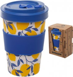 An eco friendly bamboo travel mug with a beautifully printed lemon decal around it and additional bamboo cap lid