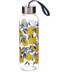 Covered with a fun Lemon print, this charming bottle will make lunch time even more bright during the summer!