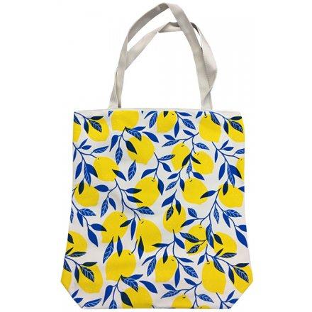 Bright Lemons Fabric Shopping Bag