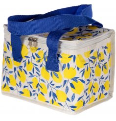 A fun and colourful themed woven cooler lunch bag complimented with navy blue handles and a secure zip top