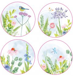 Add a hint of Spring to any kitchen or dining room with this beautiful set of Botanical themed coasters