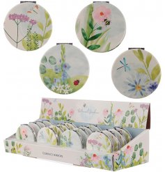 a charming assortment of individually decorated compact mirrors