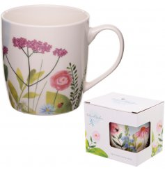 A charming China Mug complete with a floral botanical inspired decal