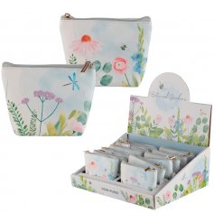 A charming mix of zip up coin purses in an assortment of Botanical Garden inspired prints