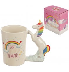 """A magical themed ceramic mug with a majestic Unicorn handle and added """"I dont believe in Humans"""" script text"""