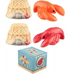 A quirky assortment of lobster and pot themed Salt and Pepper Shakers.
