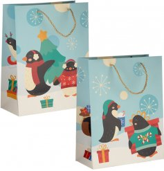 A cute mix of festive themed penguin printed gift bags, just perfect for Christmas!
