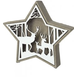 A large concrete star base set with a woodland inspired scene decal