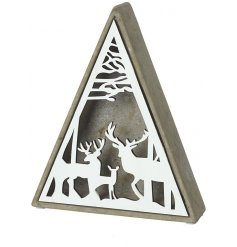 A large concrete triangular base set with a woodland inspired scene decal
