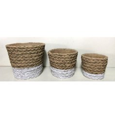 Each set with its own woven wicker inspired surrounds and added white toned block base colour