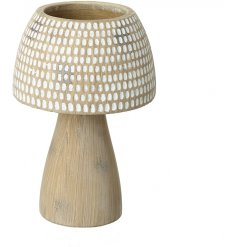 A small decorative wooden candle holder featuring a white dotted shade design