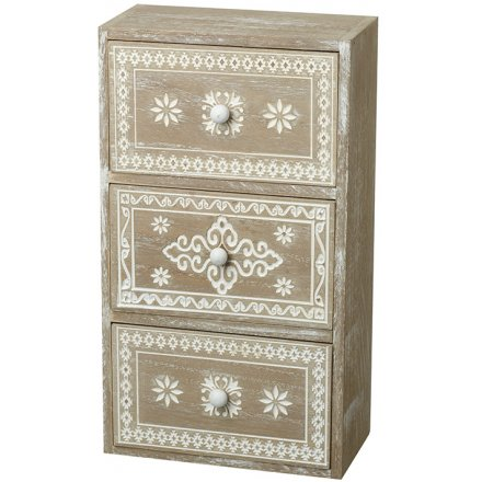 White Washed Wooden Draw Unit