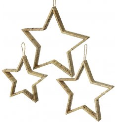 A set of three bamboo hanging stars with rattan effect for a woodland themed.