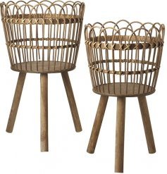 A set of 2 unique and super stylish wicker basket tables. Use as a display table or planter for a chic home accent.