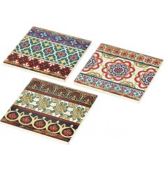 A mix of bright and bold coasters with a unique floral mosaic print. A unique gift item and interior accessory.