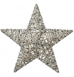 A large 3D rattan star. Large winter wonderland themed feature piece for your home this Christmas.