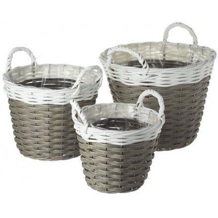 White/Grey Woven Wicker Baskets, Set of 3