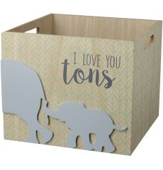 Store away all spare clothes, toys, blankets and more in this adorably decorated wooden crate