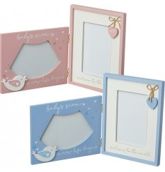 A beautiful assortment of wooden fold up frames in Pink and Blue tones.