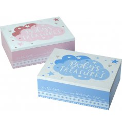 An assortment of sweetly decorated wooden storage boxes, set with pretty pink and baby blue features