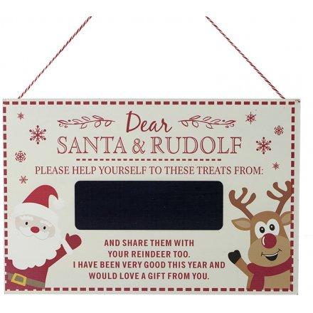 Dear Santa And Rudolph Chalk Board