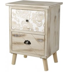 Bring a gorgeously rustic inspired sense to any home living space with this beautifully decorated wooden draw unit