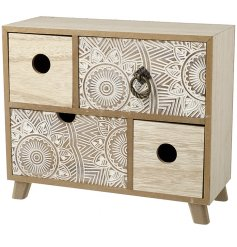 Set with its beautifully intricate mandala patterned draws and added rustic wooden features