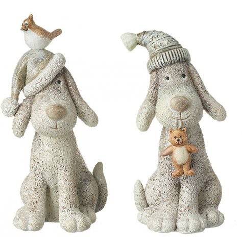 Adorable sitting dog ornaments with intricate fur detailing carved into the surface.