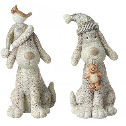 Festive Hat Sitting Dog Figures