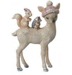 A sweet standing deer figure with a added woodland critter friends