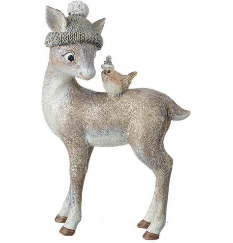 An adorable and unique fawn with bird decoration. Each has a cute winter hat and a sweet expression.