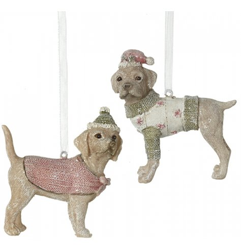 An assortment of 2 enchanting hanging dog decorations with Christmas coats and hats.