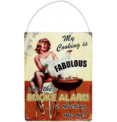 A comical scripted plaque with a Retro Barbecue decal