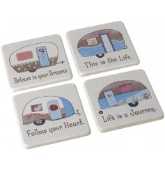 A mix of white wooden coasters perfectly complete with illustrated caravan decals and scripted texts