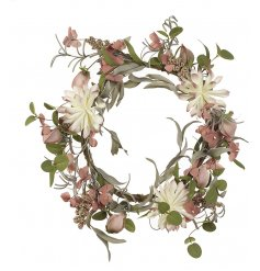 A gorgeous decorative wreath featuring blush pink, charming green and soft white tones