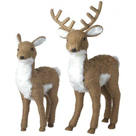 Pair Jute Deer & Stag Couple 70cm