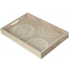 A beautifully natural toned wooden tray featuring a white mandala pattern decal