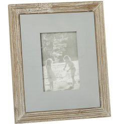 A beautifully chic and simple natural wooden picture frame with an added block grey centre
