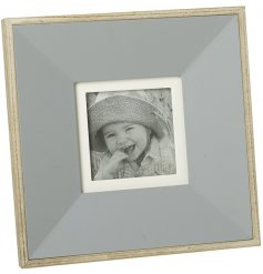 Natural Wooden Frame, 26cm    A beautifully chic and simple natural wooden picture frame with an added block grey centre