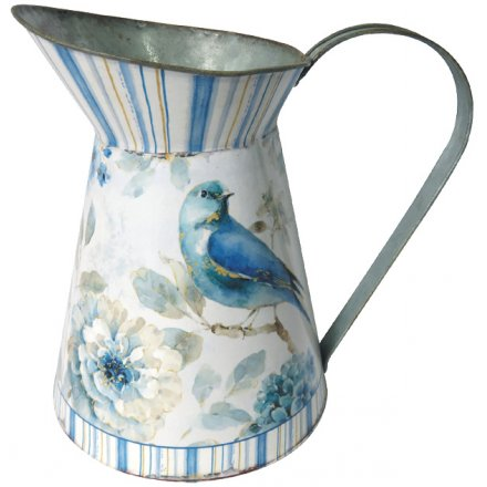 Rustic Metal Blue Bird Jug