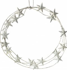 An overly distressed metal wreath with an added whitewashed star decal