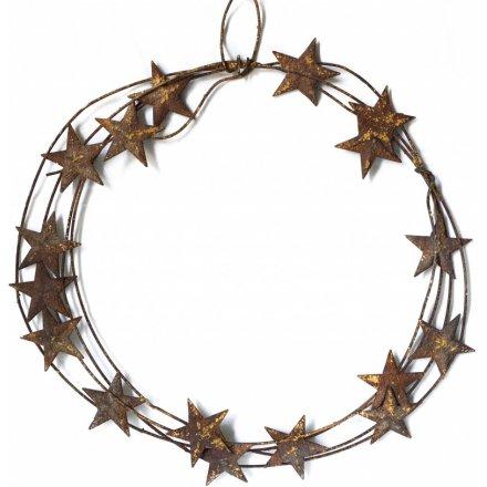 Hanging Metal Distressed Star Wreath