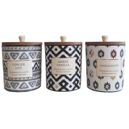 Aztec Print Candle Pots, 3asst 10cm