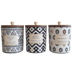 A stylish mix of Aztec themed candle pots, each filled with a delightfully fragranced wax centre