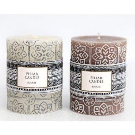 Embossed Pillar Candles, 2asst