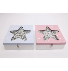 A mix of Blue and Pink themed Keepsake Boxes, each beautifully decorated with a glittery silver star centre design