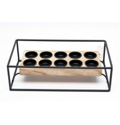 A sleek and stylish 10 space tlight holder with a natural wooden base decal